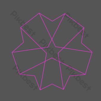 線條裝飾圖案創意五角星 元素 模板 AI