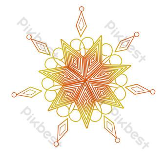 patrón de decoración de línea copo de nieve dorado Elementos graficos Modelo PSD