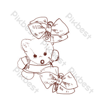 Illustration de carte ours dessin au trait Éléments graphiques Modèle PSD