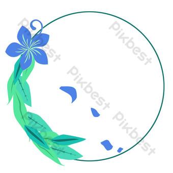 文藝風藍色花植物圓花圈 元素 模板 PSD