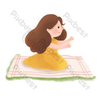 Petite fille fraîche assise sur la couverture peut utiliser des éléments commerciaux Éléments graphiques Modèle PSD