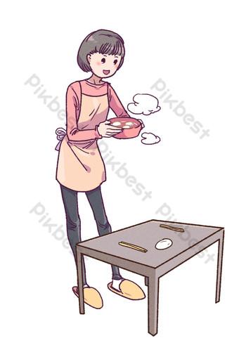 Little girl serving dumplings on Lantern Festival PNG Images Template PSD