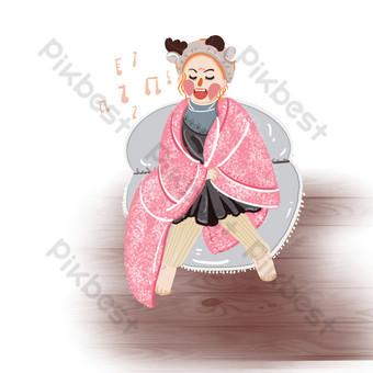 Petite fille chantant sur le canapé sous une couverture le jour des enfants Éléments graphiques Modèle PSD