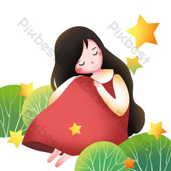 niña sentada y durmiendo Elementos graficos Modelo PSD