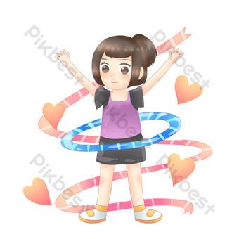 فتاة صغيرة تدور حولا هوب للياقة البدنية صور PNG قالب PSD