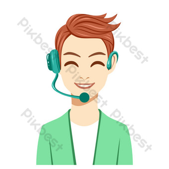 Little green brother boy customer service PNG Images Template PSD