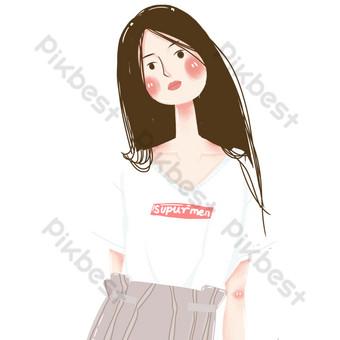 длинные волосы девушка свободный вырез Графические элементы шаблон PSD