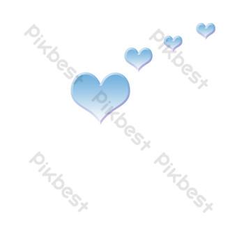 الحب نمط الديكور قلب أزرق صغير صور PNG قالب PSD