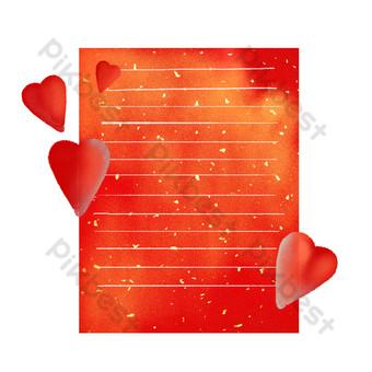 borde de papel de carta de amor Elementos graficos Modelo PSD