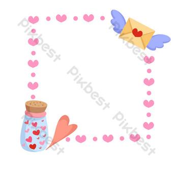 ilustración de borde de carta de amor de amor Elementos graficos Modelo PSD