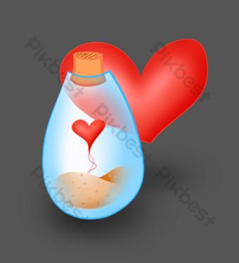 amor corazón rojo deriva botella ilustración Elementos graficos Modelo PSD