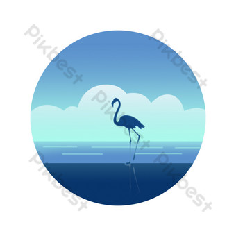 Low light gradient flat blue sky white clouds walking along the seaside flamingo cold color decoration PNG Images Template PSD