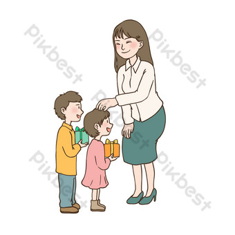 march 8th women's day send teacher gift drawing illustration free element download PNG Images Template PSD