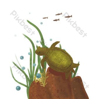 tortuga marina y pasto de agua. Elementos graficos Modelo PSD