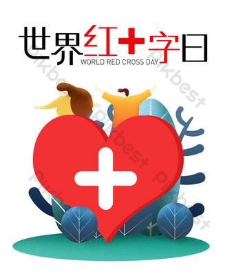 8 de mayo día mundial de la cruz roja Elementos graficos Modelo PSD