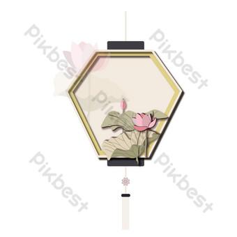 elemento de linterna de loto de decoración de festival de estilo chino tradicional micro estéreo Elementos graficos Modelo AI