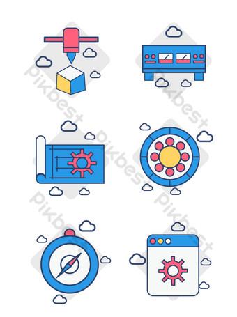 icono de teléfono móvil reloj de negocios simple vector azul amarillo disponible comercialmente Elementos graficos Modelo AI