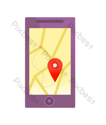 Mobile phone location map coordinates PNG Images Template PSD