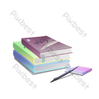 libro moderno cuaderno apilable en color libro firma pluma Elementos graficos Modelo PSD