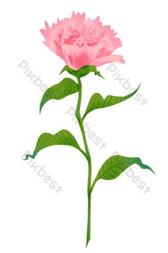 母親節粉色康乃馨單裝飾 元素 模板 PSD
