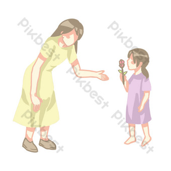 Mothers day children send flowers png silhouette PNG Images Template PSD