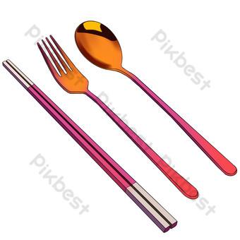 五彩的不銹鋼餐具勺 元素 模板 PSD