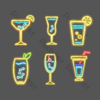 icono de copa de vino de neón Elementos graficos Modelo PSD