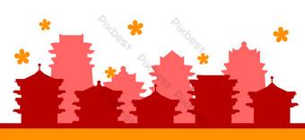 ilustración de silueta de flor de año nuevo Elementos graficos Modelo PSD