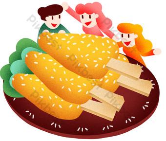 Illustration de poulet pour le dîner du nouvel an Éléments graphiques Modèle PSD
