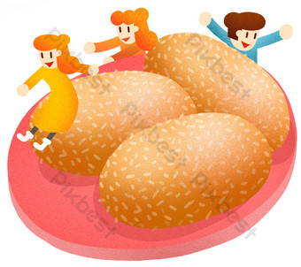 New Year's Eve sesame cake illustration PNG Images Template PSD