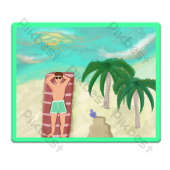 Oil painting style seaside vacation illustration PNG Images Template PSD
