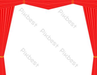 打開舞台幕布 元素 模板 PSD