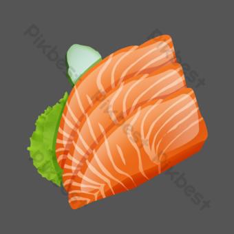 橙色精美手繪菜餚刺身三文魚psd透明底 元素 模板 PSD