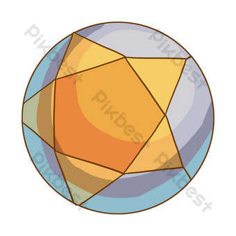 橙色五星級足球圖 元素 模板 PSD