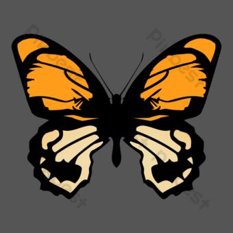 البرتقالي نمط رسمت باليد فراشة كبيرة مديرية الأمن العام حصيرة مجانية صور PNG قالب PSD