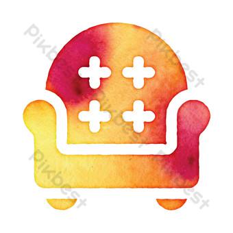 ilustración libre de icono de sofá de dibujos animados rojo naranja Elementos graficos Modelo PSD