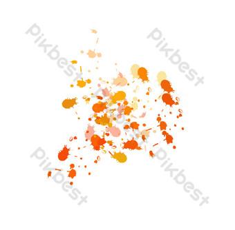 puntos de acuarela de tinta roja naranja Elementos graficos Modelo PSD