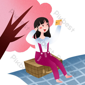 Outing girl outdoor selfie illustration PNG Images Template PSD