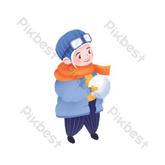 niño pintado que sostiene una bola de nieve puede ser un elemento comercial Elementos graficos Modelo PSD