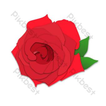 efecto de arte de papel pintado a mano hoja verde flor rosa roja patrón decorativo Elementos graficos Modelo PSD