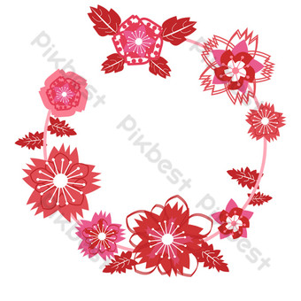 borde de guirnalda de sakura patrón de flor de cerezo cortado en papel Elementos graficos Modelo PSD