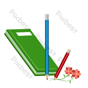 鉛筆和書本文具 元素 模板 PSD