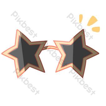 五角星太陽鏡裝飾 元素 模板 PSD