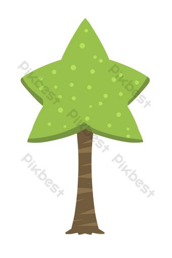Personnalitétoile arbre vert Éléments graphiques Modèle PSD