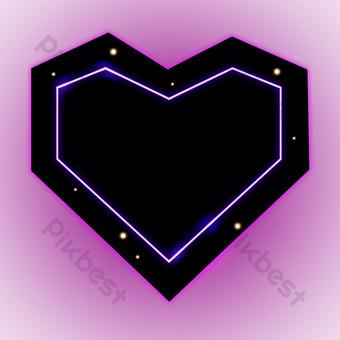 الوردي الأسود القلب الهندسي الحدود صور PNG قالب PSD