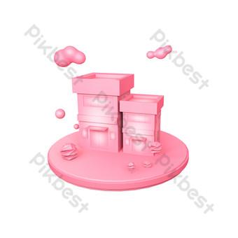 電子商務工業區的粉紅色c4d舞台 元素 模板 PSD