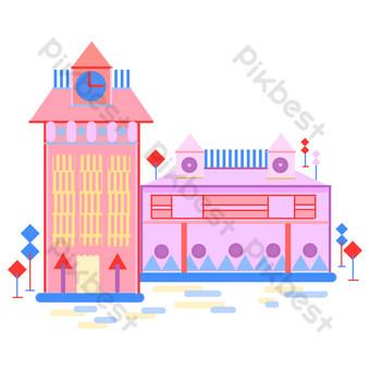 الوردي على مدار الساعة منزل التوضيح صور PNG قالب PSD