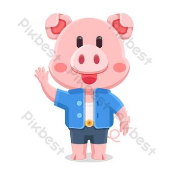 粉色可愛擬人化平小豬吉祥物矢量圖 元素 模板 AI