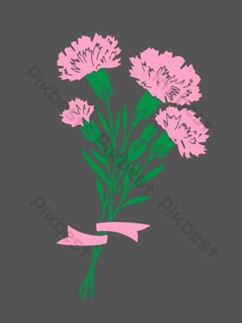 粉色手繪母親節康乃馨免費 元素 模板 PSD