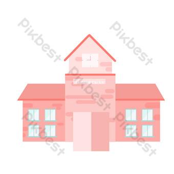 розовый дом свободный вырез Графические элементы шаблон PSD